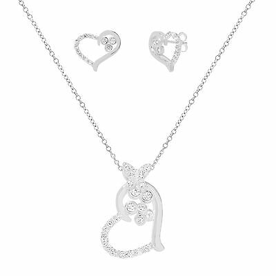 18K White Gold Sterling Silver Open Heart CZ Earring and Necklace Set