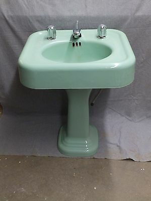 Antique Cast Iron Ming Green Jadite Pedestal Sink Old Vintage Plumbing 192-16