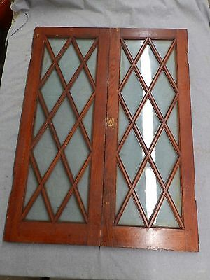 Vtg Pair Oak Casement Window Sash Diamond Cabinet Cupboard Pantry Doors 194-16