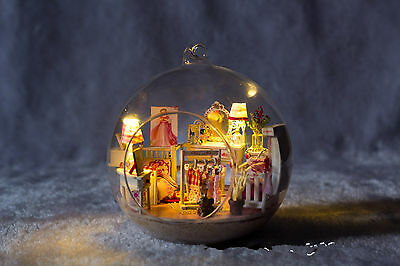 DIY Wooden Dollhouse Miniature Kit w/ LED and Voice control Princess house