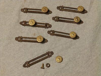 7 Vtg Ornate Sliding Adjustable Tie Down Anchor Old Steampunk Hardware 200-16