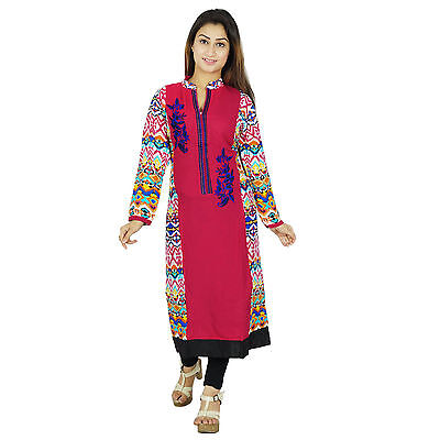 Indian Designer Bollywood Rayon Kurta Women Ethnic Kurti Causal Top Tunic Dress