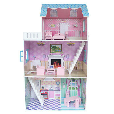 Brand New Large Wooden 3 Level 4 Rooms Dollhouse with Furniture Pretend Play