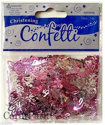 Pink & Silver Christening Decorative Table Confetti x 1 Approx 14G