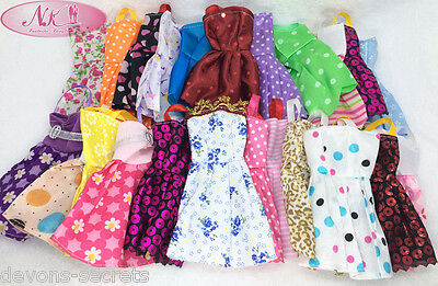 5 x bundle girls toy doll BARBIE dress party dresses costume outfits sets BC17