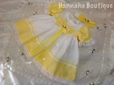 Hannahs Boutique Yellow Check & White Dress & Headband Set -All Sizes Available-