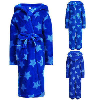 Childs Blue Star Print Nightwear Kids Dressing Gown Or All In One Hooded Pyjamas