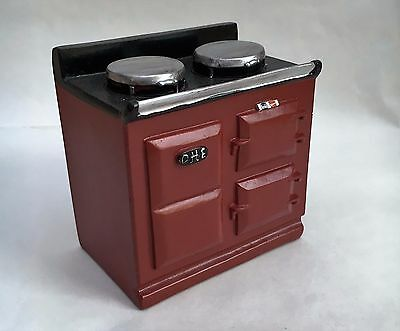 Red Aga Style Stove, Doll House Miniature, 1.12th Scale, Kitchen Cooker
