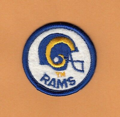OLD 1980s RARE LOS ANGELES L A RAMS 2 inch LOGO RAISED STITCH PATCH UNSOLD STOCK