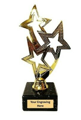 "Gold Triple Star Multisport, Dance Trophy,Award,178mm (7""),FREE Engraving"