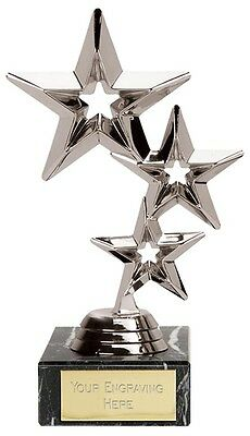 "Silver Triple Star Multisport, Dance Trophy,Award,178mm (7""),FREE Engraving"