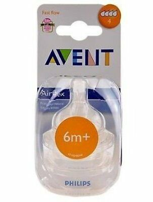 AVENT FAST FLOW 6m+ NIPPLES PACK OF 2 NEW SEALED PACK NO 4