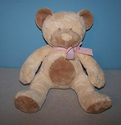 "Russ Baby 12"" Taffey Pink Bow Teddy Bear Rattle Cream Soft Plush Stuffed Animal"