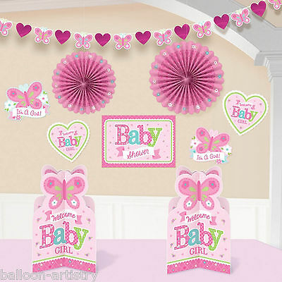 10 Piece Little Pink WELCOME Baby Girl Shower Party Paper Room Decorating Kit