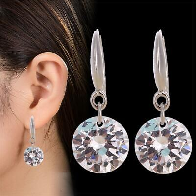 CUBIC ZIRCONIA DROP EARRINGS In Silver or Rose Gold Plate, Crystal Diamante Gift