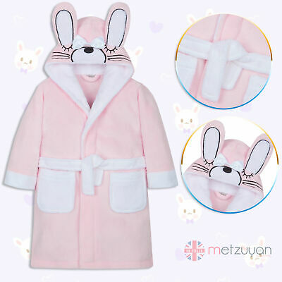 MINIKIDZ Girls Bunny Hooded Dressing Gown Bath Robe Ears Plush Fluffy Soft Warm