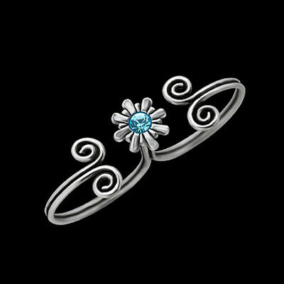 Ladies Double Toe Ring Silver & Aquamarine Crystal Center stone Adjustable Swirl