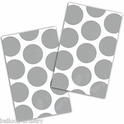 10 Polka Dot Spots SILVER Treat Loot Party Sweet Candy Paper Bags
