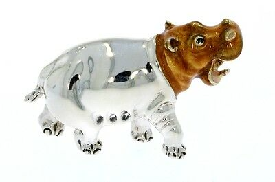 Sterling Silver & Enamel Medium Hippo by Saturno