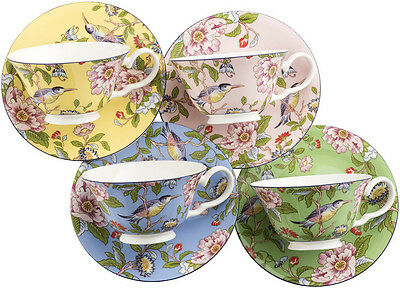 Aynsley Pembroke 4 Colour Windsor Teacups & Saucers - New/boxed