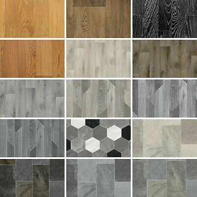 Quality Non Slip Vinyl Flooring Wood & Tile Effects Cheap Kitchen Bathroom 4m