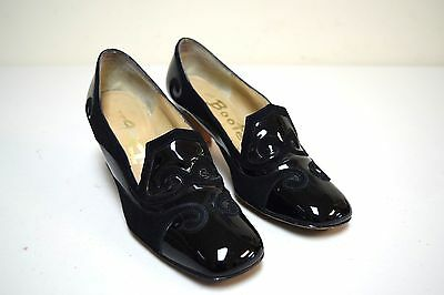 VTG 60s ORIGINAL DEB/The Bootery Black Patent & Nubuck Suede Pumps Size 6.5