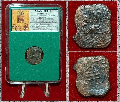 Ancient Byzantine Empire Coin MANUEL I Emperor Holding Cross on Globe