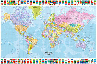 Flags of the world maxi poster 585 picclick uk poster world map maxi poster with flags gumiabroncs Images