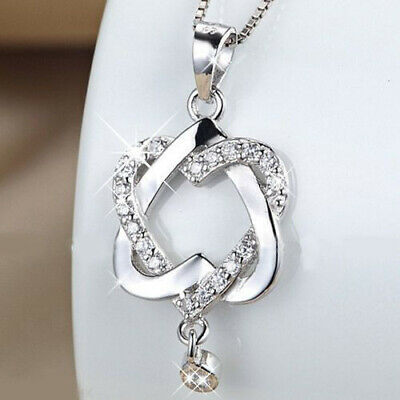Fashion 925 Silver Plated Women Double Heart Pendant Necklace Chain Jewelry TOP