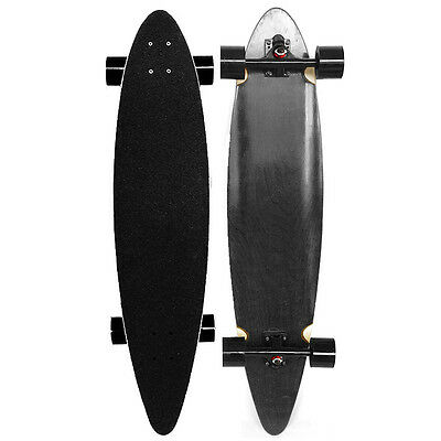 """CLASSIC BLACK Stained Longboard PINTAIL Skateboard 40"""" X 9"""" ABEC-9 BEARINGS"""