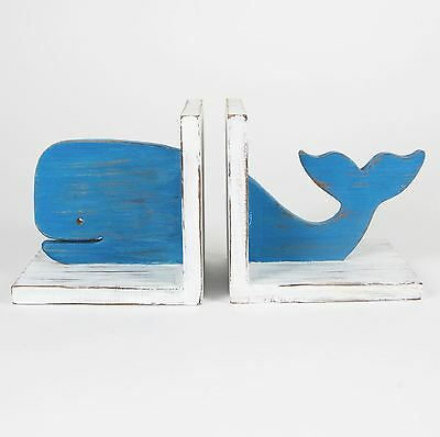 Sass & Belle Vintage Wooden Whale Book Ends Bookends Retro Decoration Home Gift