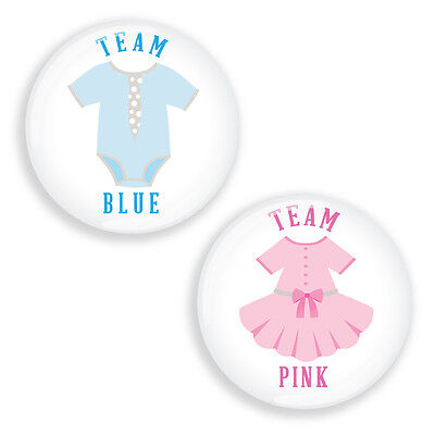 Gender Reveal Party Pin Badges for Baby Shower TEAM PINK / BLUE clothes