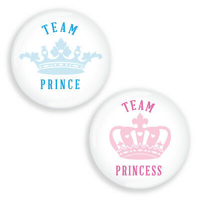 Gender Reveal Party Pin Badges for Baby Shower VINTAGE CROWNS