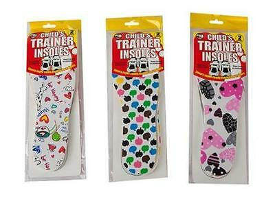 Kids/childrens Trainer Shoe Insoles 2 Pair Pack Cut To Size 8.5 - 3 (26-36)