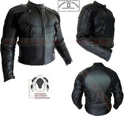 Deadpool Style Mens Black Ce Armour Motorbike Motorcycle Leather Jacket