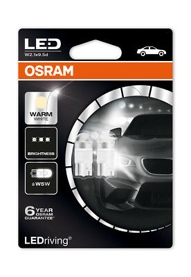 Osram LED 4000K Warm White W5W (501) Wedge 12V 1W Led Bulbs Long Life 2850WW-02B