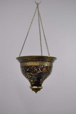 Morroccan Style Hanging Painted Purple Glass and Brass Candle Holder