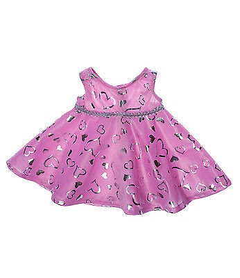 """Pink & Silver Heart Dress Teddy Bear Clothes Fits 14""""-18"""" Build-A-Bear and More"""