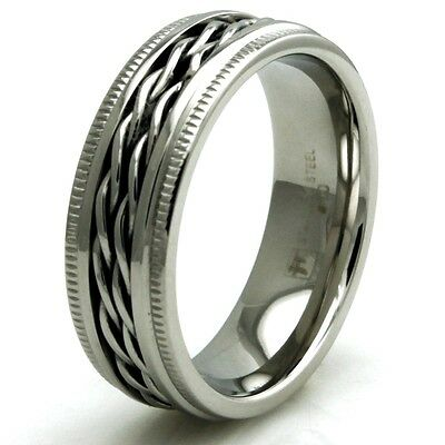 Stainless Steel Ghost Rider Chain Inlay Mens Biker Ring 7MM | FREE ENGRAVING