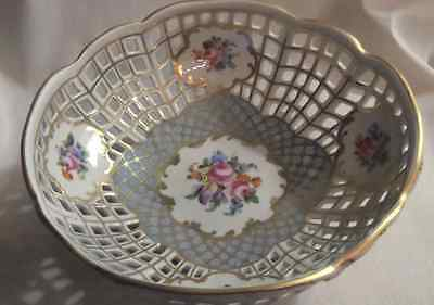 Signed Dresden 100 year old hand painted reticulated footed bowl