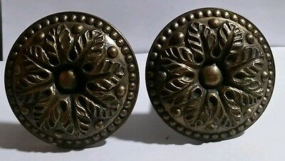 "2 Antique Curtain Tie Backs Solid  Brass  3""  Medallions 6"" Stem  Made In  Italy"