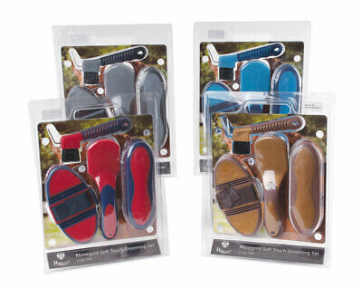 Rhinegold Soft Touch Grooming Brush Set In Blister Pack Horse Pony Gift