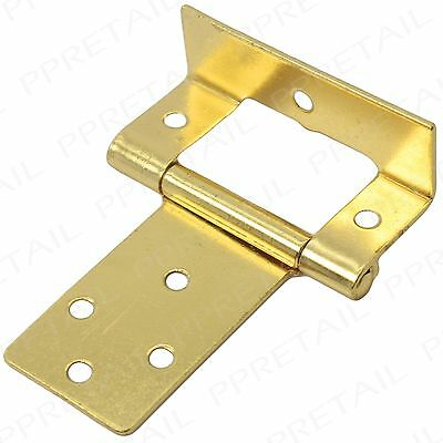 "10 x BRASS CRANKED FLUSH HINGES ~50mm/2""~5 Pairs Flush Fit Kitchen Cabinet Chest"
