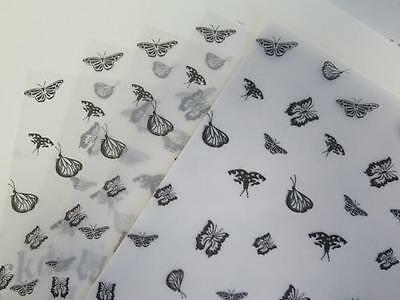 Printed Vellum Paper - Black Butterflies A4 110gsm Choose 10 or 25 Sheets Craft