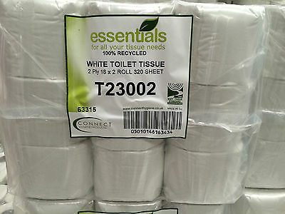 Bulk Toilet Rolls Recycled Essentials (72 Rolls) 320 sheets/tissues per roll