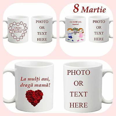 Romanian Mother's Day Personalised Gift COLOURED Mug Cup Photo Text Love