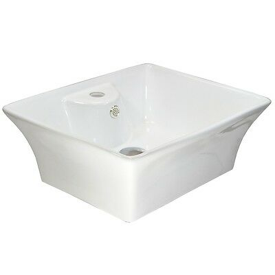 Bathroom Wash Basin White Ceramic Bowl Modern Rectangle Countertop Gloss Sink