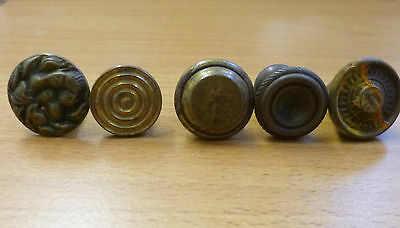 Five Miscellaneous Brass Cabinet Knobs - some used, some unused