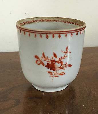 Antique Chinese Export Porcelain Tea Cup Bowl Sprig 18th c. 1800 Rouge de Fer