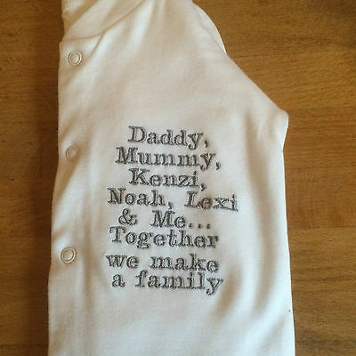 Personalised Baby grow/Sleepsuit..Message as in picture advertised with any name